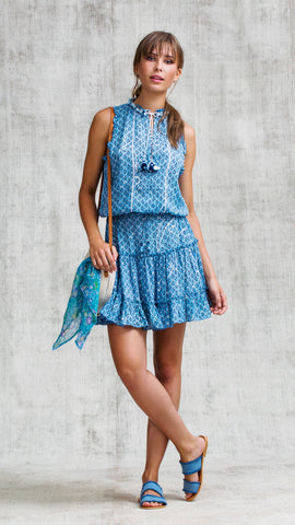 MINI DRESS CLARA RUFFLED - BLUE SMALL GEO FLOWER