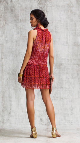 MINI DRESS ELISE RUFFLED - RED BUTTERFLY BATIK ROMBO