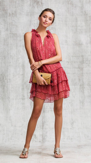 MINI DRESS ELISE RUFFLED - RED SMALL GEO FLOWER