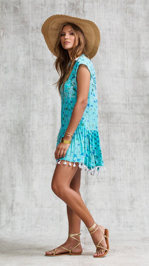 MINI DRESS ELODIE DROP WAIST - AQUA BUTTERFLY BATIK ROMBO