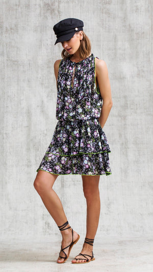 MINI DRESS FOE RUFFLED - BLACK MIMOSA