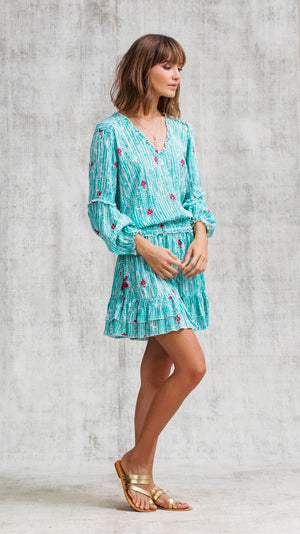 MINI DRESS ILONA LONG SLEEVE - AQUA FANCIFUL