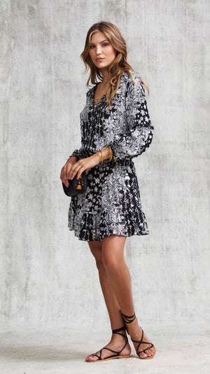 MINI DRESS ILONA LONG SLEEVE - BLACK BUTTERFLY BATIK VERTICAL