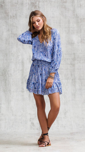 MINI DRESS ILONA LONG SLEEVE - BLUE FANCIFUL