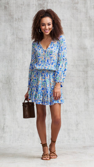 MINI DRESS ILONA LONG SLEEVE - BLUE YVONNE