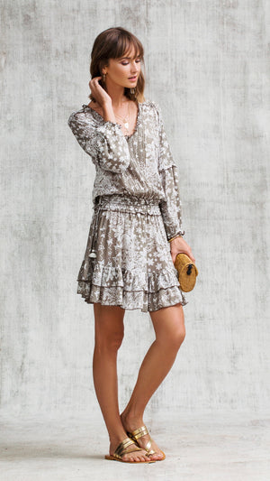 MINI DRESS ILONA LONG SLEEVE - GREY BUTTERFLY BATIK VERTICAL
