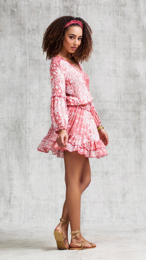MINI DRESS ILONA LONG SLEEVE - PINK BUTTERFLY BATIK VERTICAL