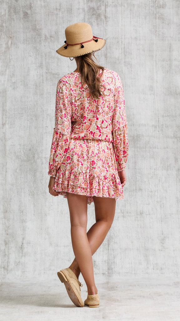 MINI DRESS ILONA LONG SLEEVE - PINK YVONNE