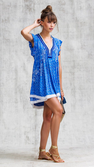 MINI DRESS SASHA LACE TRIMMED - BLUE BUTTERFLY BATIK ROMBO