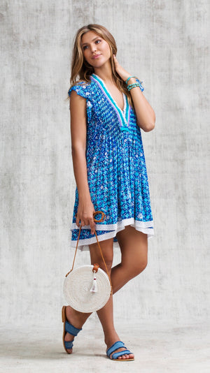 MINI DRESS SASHA LACE TRIMMED  - BLUE FLOWER BATIK