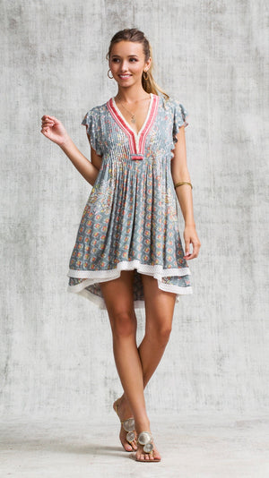 MINI DRESS SASHA LACE TRIMMED - GREY BUTTERFLY BATIK ROMBO