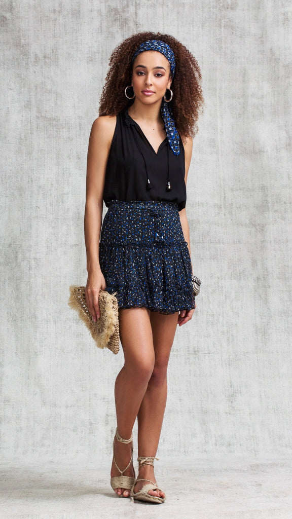 MINI SKIRT CLARA RUFFLED - BLACK SKY