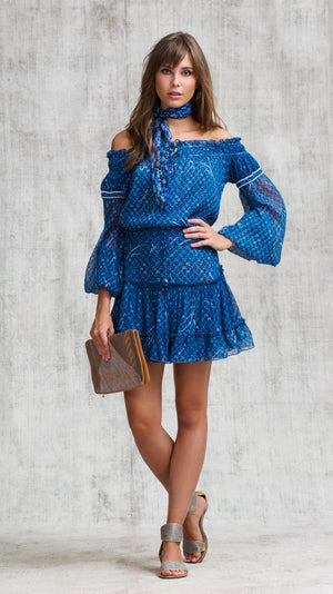 MINI SKIRT CLARA RUFFLED - BLUE SMALL GEO FLOWER