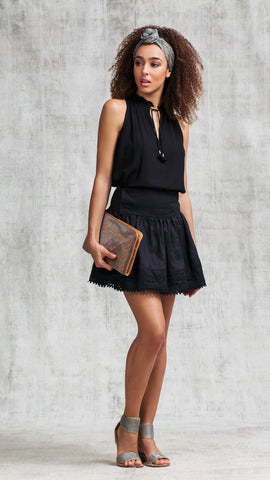 MINI SKIRT GISELLE BRODERIE - BLACK