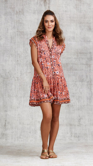 MINI DRESS AMORA DROP WAIST - ORANGE CAMELIA
