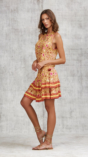 MINI DRESS AMORA LAYERED - YELLOW CAMELIA