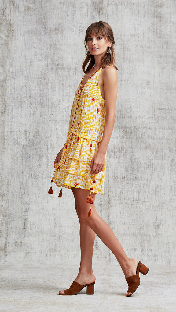 MINI DRESS BETY RUFFLED - YELLOW FANCIFUL