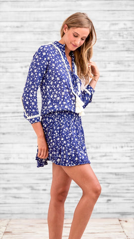 MINI DRESS DONNA - BLUE TASSEL