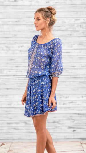 MINI DRESS FLEUR - BLUE DALIA
