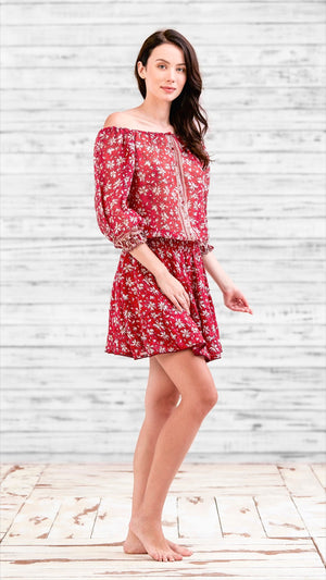 MINI DRESS FLEUR - RED DALIA