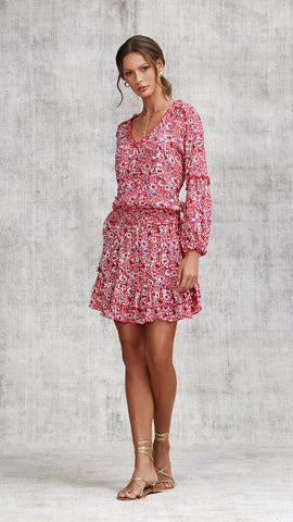 MINI DRESS ILONA LONG SLEEVE - PINK AZALEA