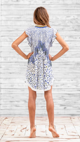 MINI DRESS SASHA - WHITE GREEN FISH BATIK ROMBO