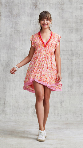 MINI DRESS SASHA LACE TRIMMED - PINK PAPILON