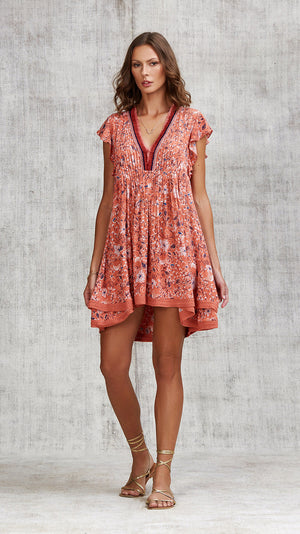 MINI DRESS SASHA LACE TRIMMED - ORANGE CAMELIA
