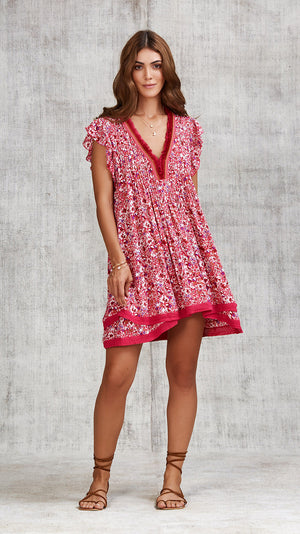 MINI DRESS SASHA LACE TRIMMED - PINK AZALEA