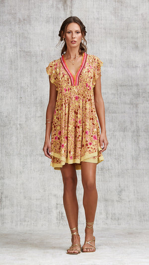 MINI DRESS SASHA LACE TRIMMED - YELLOW CAMELIA