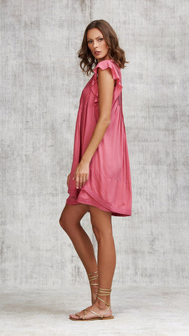 MINI DRESS SASHA LACE TRIMMED - PINK