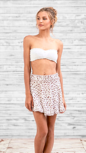 MINI SKIRT ALICIA - WHITE RED FLOWER STRIPES