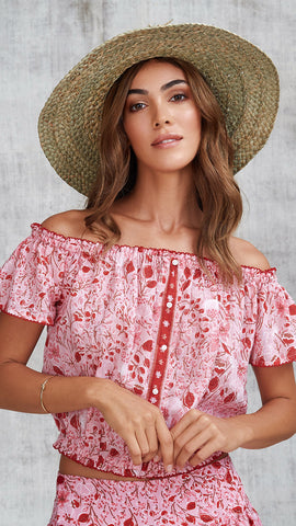 MINI TOP BLOUSE AMORA OFF SHOULDER - PINK CAMELIA