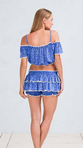 MINI TOP BLOUSE DONNA - BLUE BLACK FLOWER STRIPES