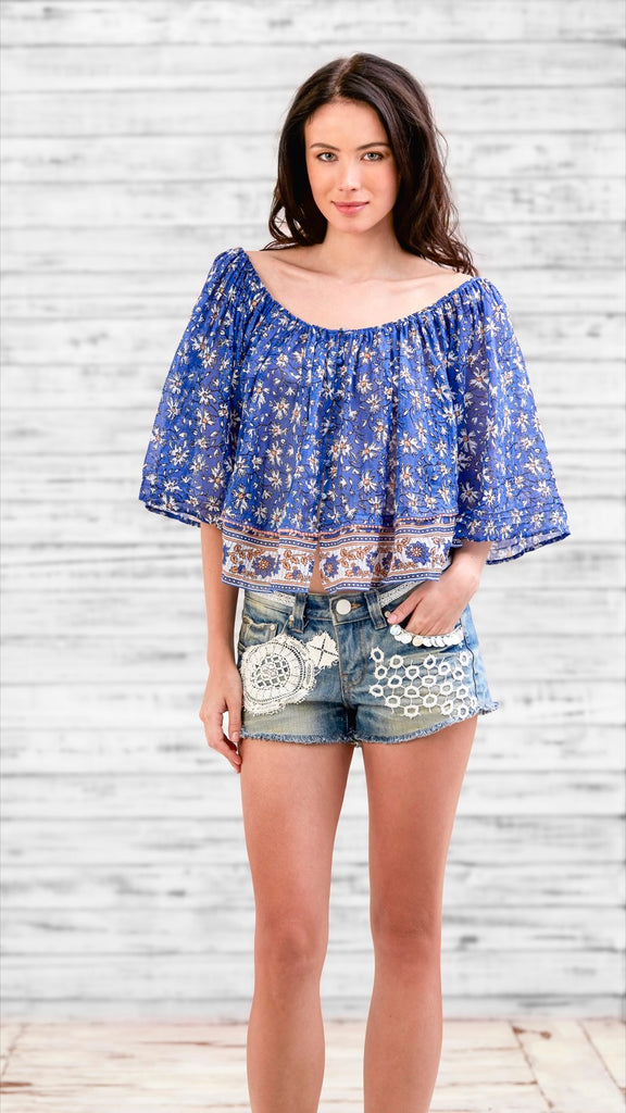 MINI TOP BLOUSE FLEUR - BLUE DALIA