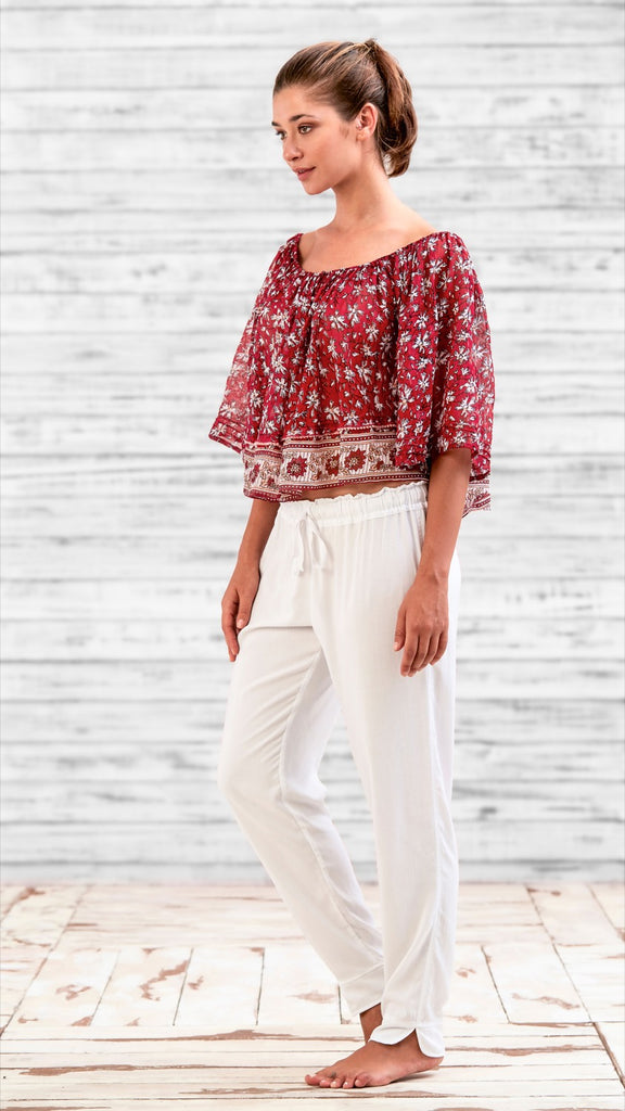 MINI TOP BLOUSE FLEUR - RED DALIA