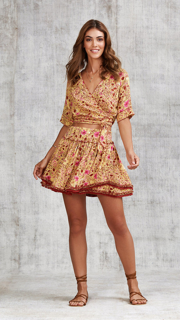MINI SKIRT HEIDI RUFFLED - YELLOW CAMELIA