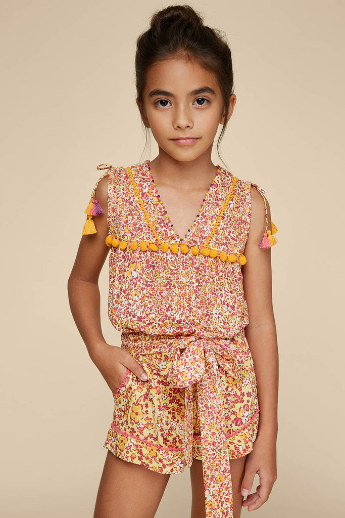 Kids Short Jumpsuit Mya Pompom Trimmed - Yellow Glory