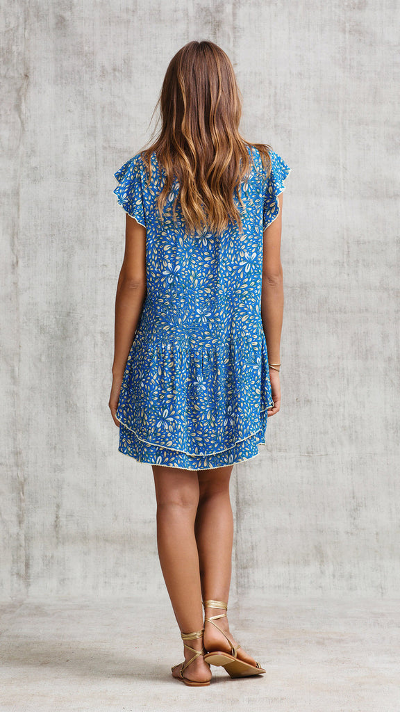 MINI DRESS NADA RUFFLED - BLUE SPLASH