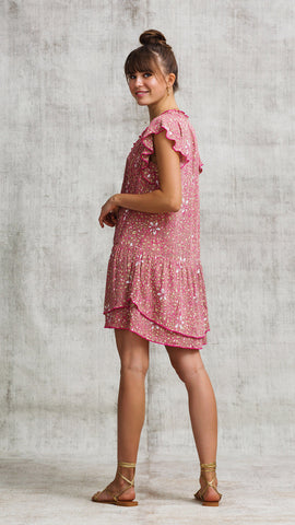 MINI DRESS NADA RUFFLED - PINK SPLASH