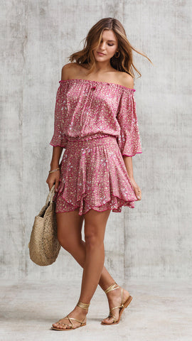 MINI SKIRT NADA LAYERED - PINK SPLASH
