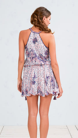 MINI DRESS NOLA - WHITE PINK GEO BATIK ROMBO