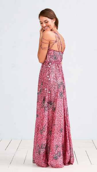 LONG DRESS NUNA - PINK BLACK GEO BATIK ROMBO