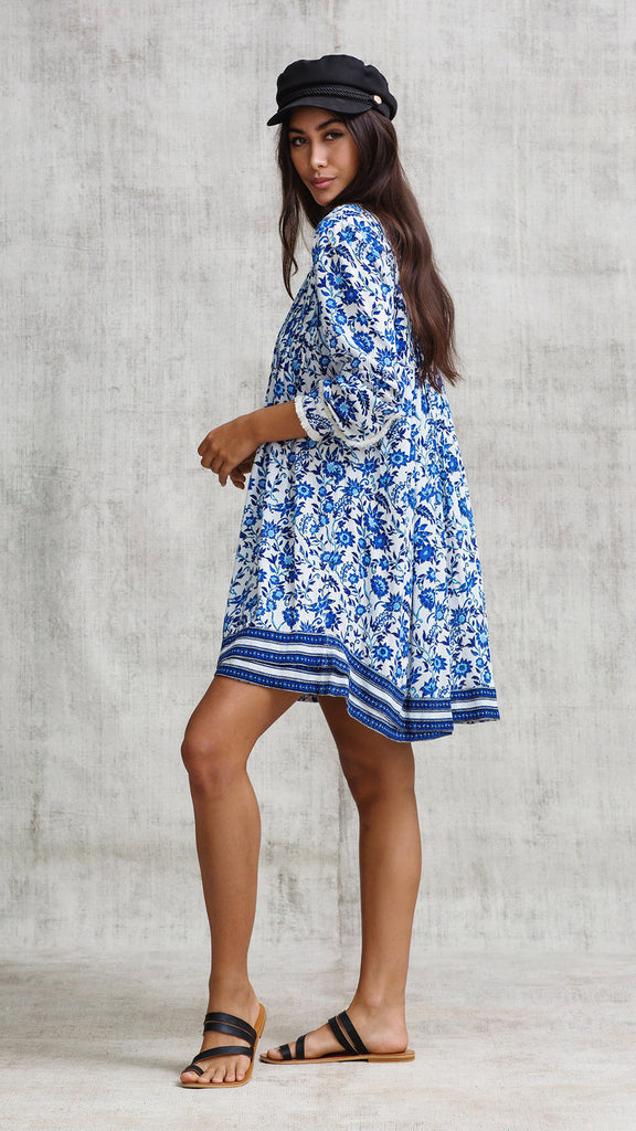 DRESS OLA LONG SLEEVE - BLUE ZINNIA