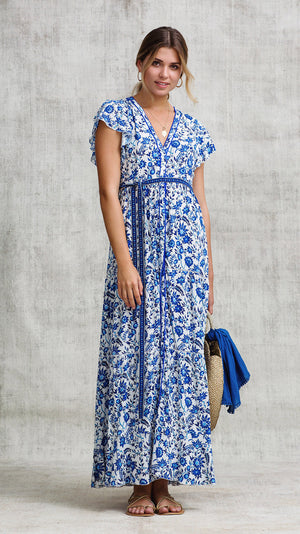 LONG DRESS OLA PANELLED - BLUE ZINNIA