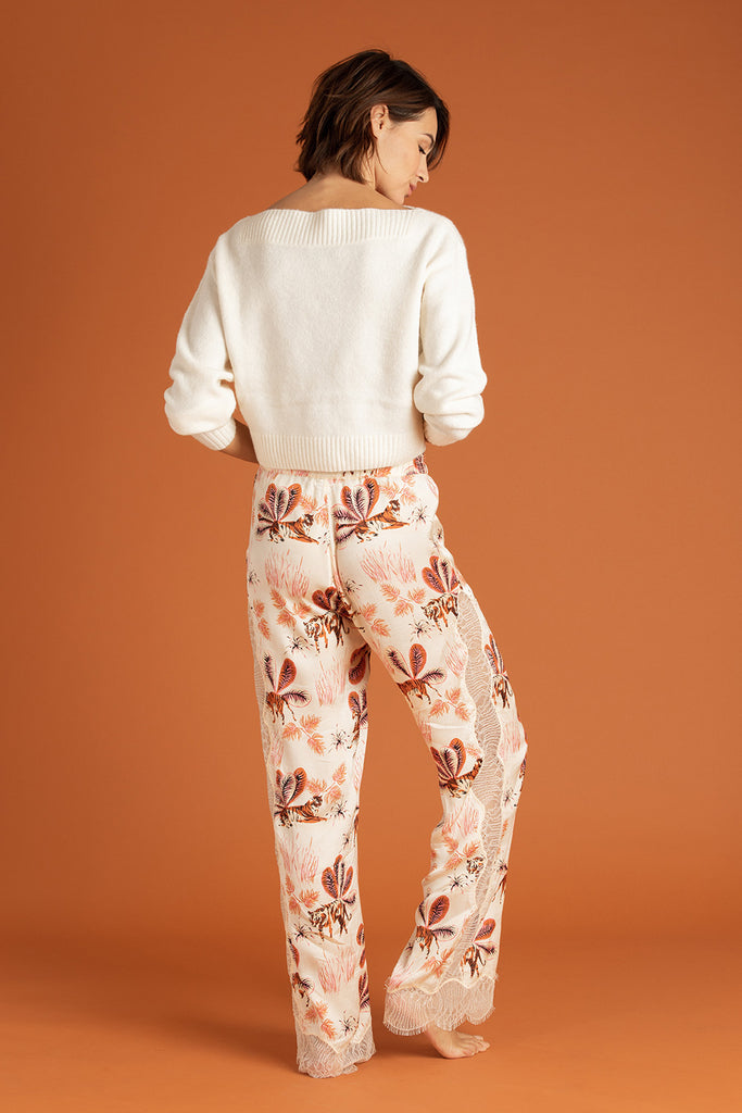 Pant Lucia Straight Leg - Off White Tiger