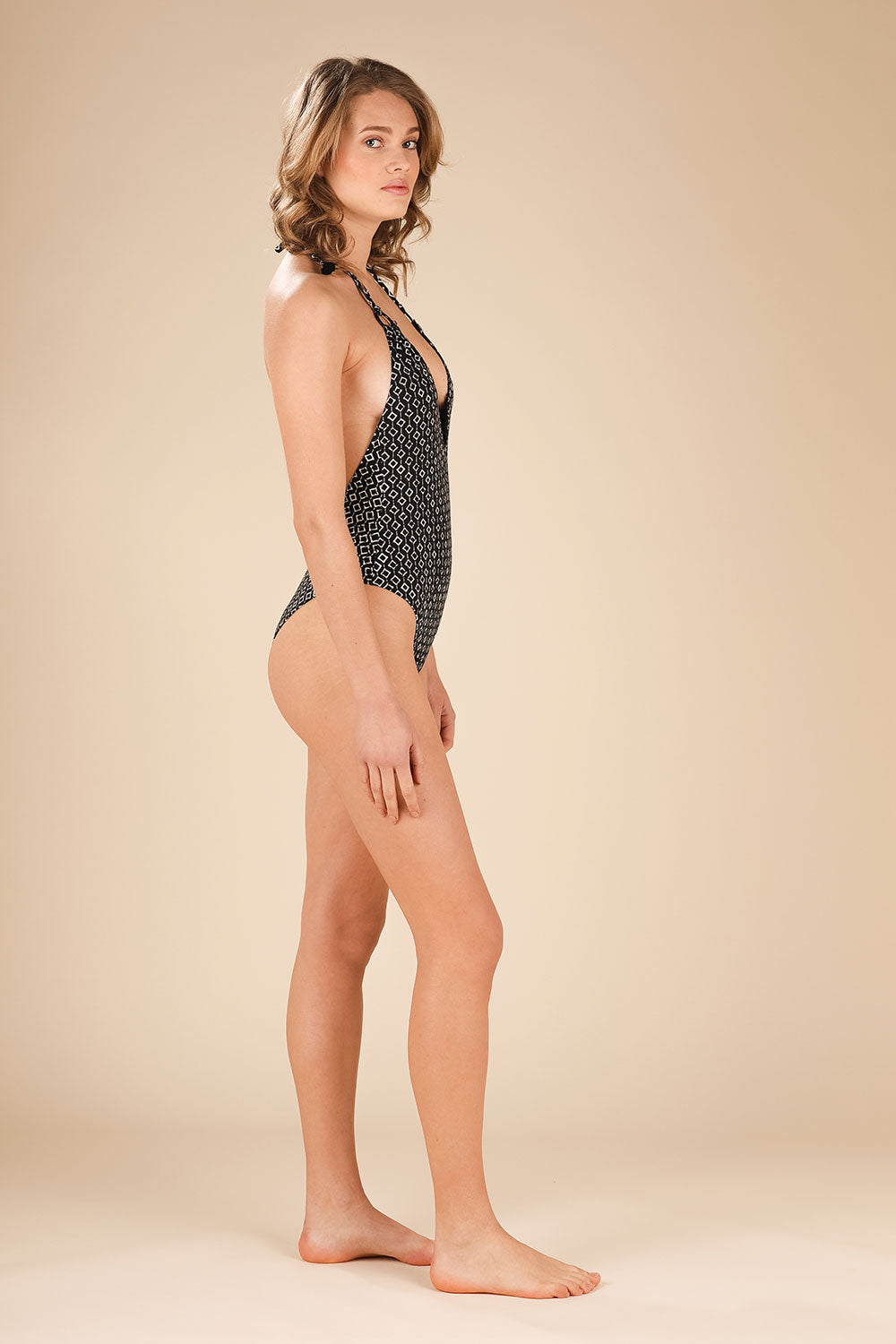 Monokini Popy Open Back - Black Rombus