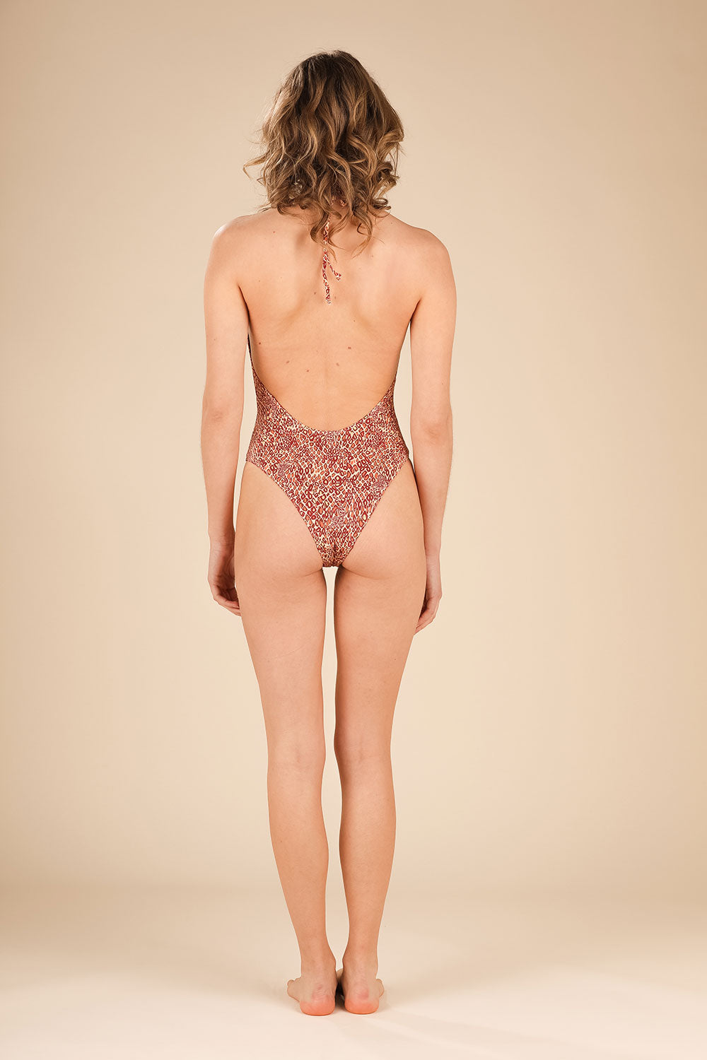 Monokini Popy Open Back - Orange Wild