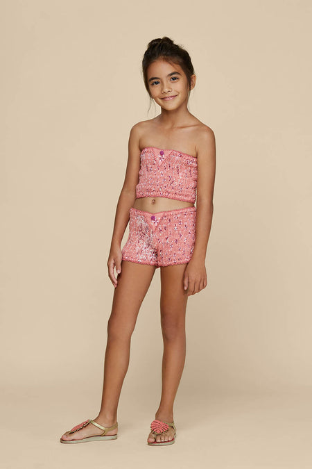 Kids Bandeau Smocked - Yellow Gerbera
