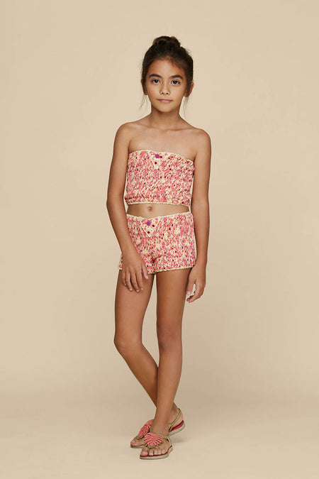 Kids Boxer Short Lulu Lace Trimmed - Pink Pineapple Batik Rombo